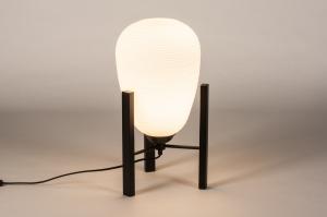 tafellamp 14922 industrie look design landelijk rustiek modern eigentijds klassiek glas wit opaalglas metaal zwart mat wit mat rond