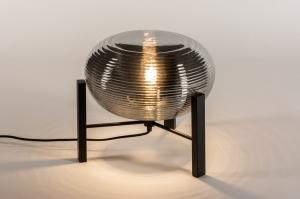 tafellamp 14923 industrie look design modern eigentijds klassiek glas metaal zwart mat grijs rond