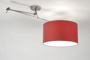 hanglamp 30008 modern staal rvs stof metaal rood rond