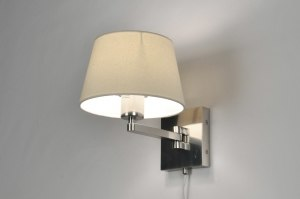 wandlamp 30087 modern eigentijds klassiek landelijk rustiek creme staal rvs stof rond vierkant