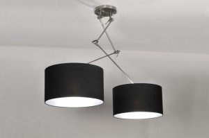 suspension 30097 rural rustique moderne etoffe noir rond