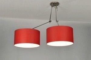hanglamp 30099 modern stof rood rond