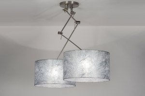 pendant light 30100 modern fabric silvergray round