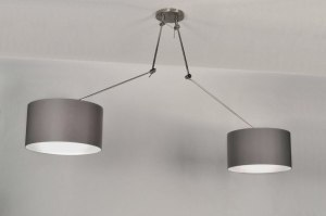 pendant light 30110 rustic modern contemporary classical fabric grey taupe colored round
