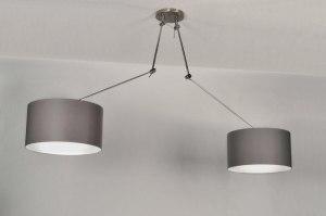 hanglamp 30110 landelijk rustiek modern eigentijds klassiek stof grijs taupe rond