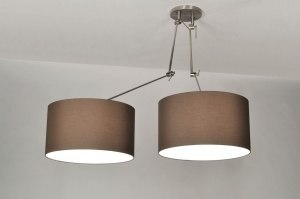 pendant light 30112 rustic modern contemporary classical fabric brown round