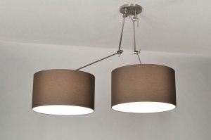 hanglamp 30112 landelijk rustiek modern eigentijds klassiek stof bruin rond