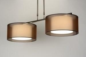 hanglamp 30125 landelijk rustiek modern eigentijds klassiek stof bruin langwerpig