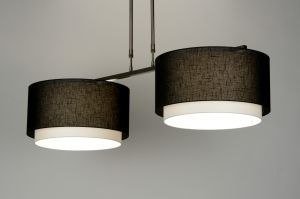 pendant light 30129 rustic modern fabric black oblong