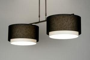 hanglamp 30129 landelijk rustiek modern stof zwart langwerpig