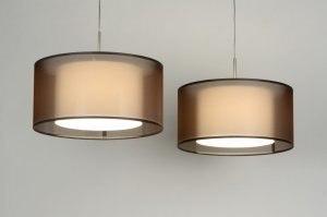 hanglamp 30130 landelijk rustiek modern eigentijds klassiek stof bruin rond langwerpig