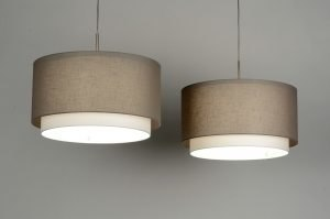 pendant light 30132 rustic modern contemporary classical fabric taupe colored round oblong