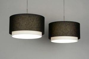 hanglamp 30134 landelijk rustiek modern stof zwart rond langwerpig