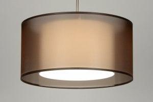 hanglamp 30135 landelijk rustiek modern eigentijds klassiek stof bruin rond
