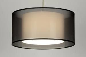 hanglamp 30136 landelijk rustiek modern eigentijds klassiek stof zwart rond