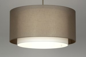 pendant light 30137 rustic modern contemporary classical fabric taupe colored round