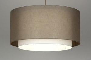 hanglamp 30137 landelijk rustiek modern eigentijds klassiek stof taupe rond