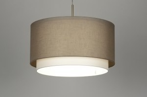 pendant light 30140 rustic modern contemporary classical fabric taupe colored round