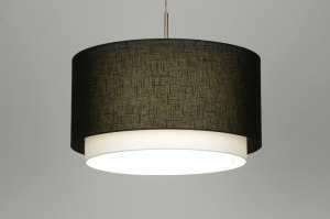 pendant light 30142 rustic modern fabric black round