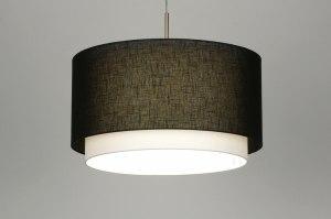 hanglamp 30142 landelijk rustiek modern stof zwart rond