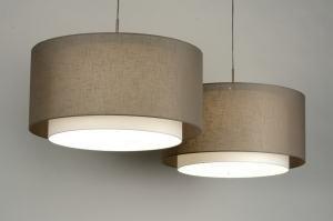 hanglamp 30143 modern eigentijds klassiek landelijk rustiek taupe stof rond langwerpig