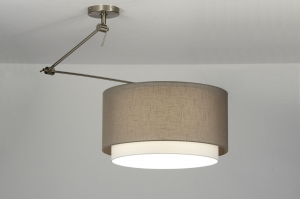 pendant light 30146 rustic modern contemporary classical fabric brown taupe colored round