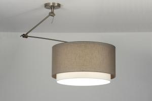 hanglamp 30146 landelijk rustiek modern eigentijds klassiek stof bruin taupe rond