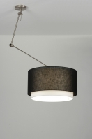 suspension 30148 rural rustique moderne etoffe noir rond