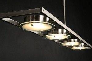 hanglamp 30204 modern staal rvs staalgrijs langwerpig