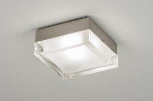 plafondlamp 30216 modern retro glas helder glas mat glas vierkant
