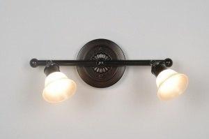 plafondlamp 30246 klassiek brons roest bruin roest bruin brons glas zacht geel rond langwerpig