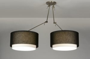 pendant light 30300 industrial look rustic modern retro contemporary classical fabric black round