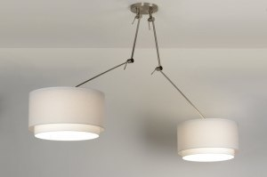 suspension 30301 look industriel rural rustique moderne retro classique contemporain etoffe blanc rond