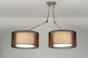 suspension 30303 look industriel rural rustique moderne retro classique contemporain etoffe brun rond