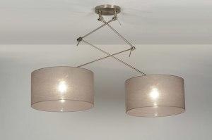 hanglamp 30317 landelijk rustiek modern eigentijds klassiek stof taupe rond