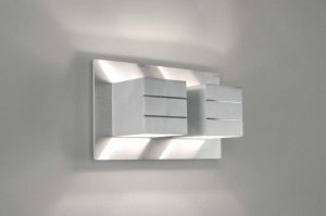 Aplique de pared 30338 Moderno Diseno Aluminio Aluminio Aluminio cepillado Metal Rectangular