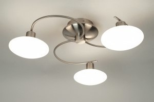 plafondlamp 30339 modern glas wit opaalglas staal rvs rond
