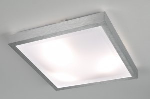 plafondlamp 30369 modern aluminium kunststof wit aluminium vierkant