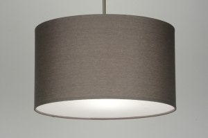 pendant light 30376 rustic modern contemporary classical fabric grey taupe colored round