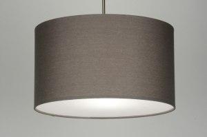 hanglamp 30376 landelijk rustiek modern eigentijds klassiek stof grijs taupe rond