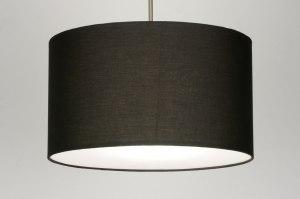 hanglamp 30377 landelijk rustiek modern stof zwart rond