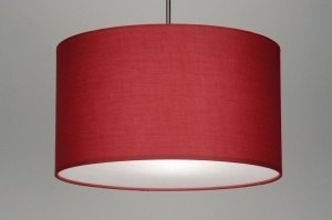 suspension 30378 moderne etoffe rouge rond