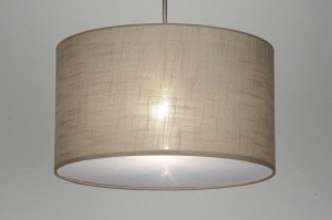 pendant light 30380 rustic modern contemporary classical fabric taupe colored round