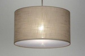 hanglamp 30380 landelijk rustiek modern eigentijds klassiek stof taupe rond