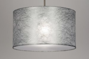 pendant light 30381 rustic modern fabric silvergray round