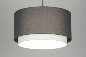 hanglamp 30400 landelijk rustiek modern eigentijds klassiek stof grijs taupe rond