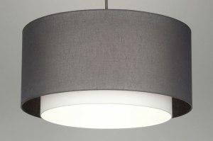 suspension 30401 rural rustique moderne classique contemporain etoffe gris taupe rond