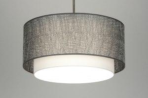 hanglamp 30404 landelijk rustiek modern eigentijds klassiek stof zilvergrijs rond