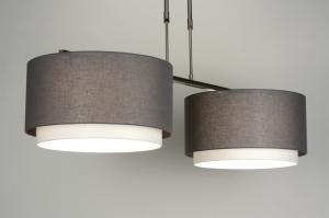 pendant light 30410 rustic modern fabric grey taupe colored round oblong