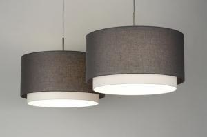 pendant light 30415 rustic modern contemporary classical fabric grey taupe colored round oblong